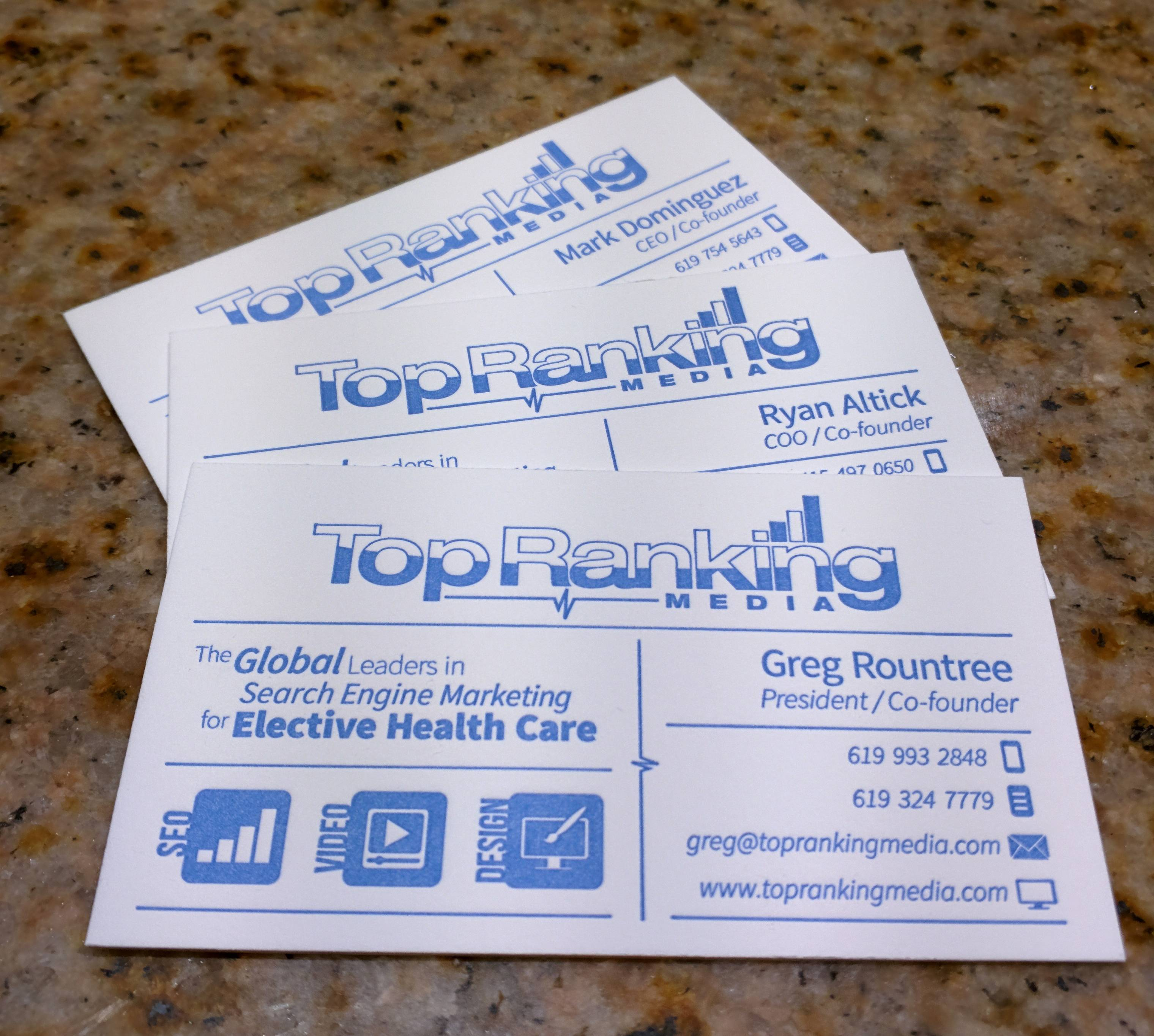 Top Ranking Media Letterpess Business Cards